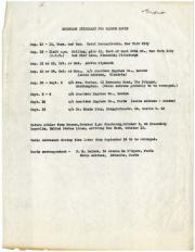 Itinerary for Watson Davis's European Trip, August-October 1925. Record Unit 7091: Science Service,