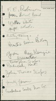 Watson Davis's handwritten notes on the day he first met John Thomas Scopes in June 1925. Smithsonia