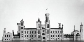 Black and white image of James Renwick's wood and paper scale model of the north facade of the Smith