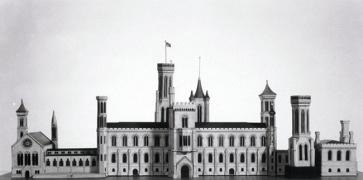 Black and white image of James Renwick's wood and paper scale model of the south facade of the Smith