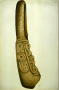 Watercolor of carved stone yoke