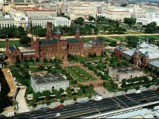 The Smithsonian Institution Building (Castle), view from south; National Museum of Natural History w
