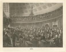 Etching showing men seated in the senate chamber and the upper gallery filled with spectators, also
