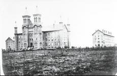 Black and white photograph of Antioch Hall at Antioch College