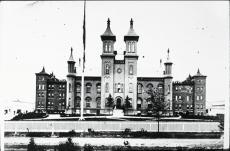 Black and white photograph of Davis Hall at Worcester Academy