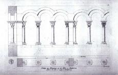 "Black and white drawing of medieval style ""cloisters"" or open walkways made of arches"