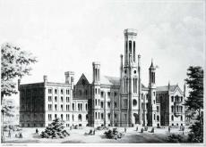 Black and white photograph of Douglas Hall at University of Chicago