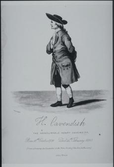 Full body drawing of Henry Cavendish in a wide brimmed hat, a long coat, and knee breeches.
