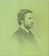 Black and white photograph of Zeledon in profile view on a green background