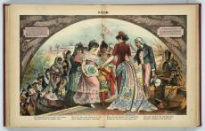 Color cartoon of Uncle Sam greeting women in dresses.