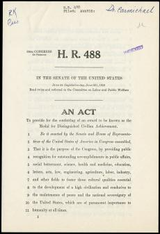 Copy of H. R. 488, presented in the Senate of the United States on July 24, 1958. Record Unit 50: Of