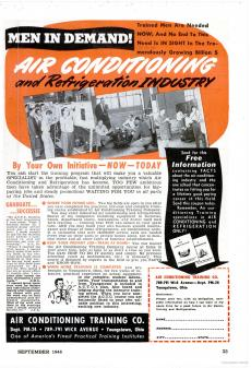 An advertisement calling for men to join the air conditioning industry featured in Popular Mechanics