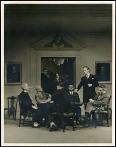 "S. Dillon Ripley, standing at right, in the Yale Dramat play ""Wings Over Europe,"" 1936, photographer"