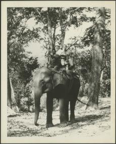 S. Dillon and Mary Ripley with elephants and guides on field trip to India, 1976, photographer unkno