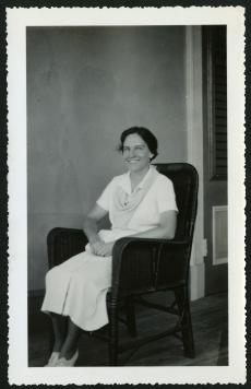 Ruth M. Blackwelder sitting in a chair, taken by Richard E. Blackwelder. Accession 96-099: Richard E