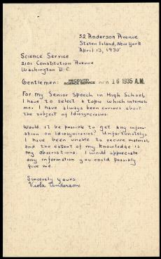 Viola Anderson to Science Service, April 13, 1935, Record Unit 7091: Science Service, Records, 1902-