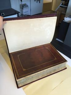 View of bound-in flyleaf, possibly the repaired cover of the original volume. Record Unit 1: Smithso