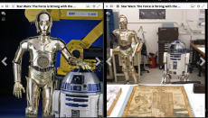 A side by side comparison of two color photographs. Left is a golden human shaped robot standing nex