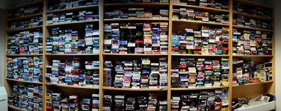 Wall of VHS tapes in the TV lounge, South Pole Station, Antarctica. Image via Flickr, courtesy of Au