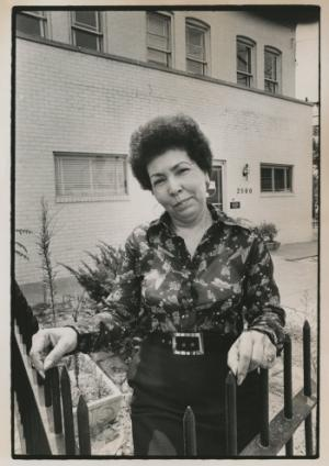 Louise Daniel Hutchinson in front of the Anacostia Neighborhood Museum, early 1970s.