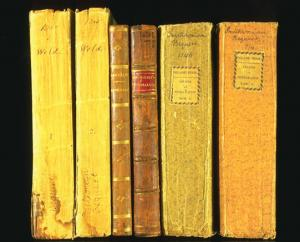 Image show spines of six books from Smithson's personal collection, in gold brown and orange colors