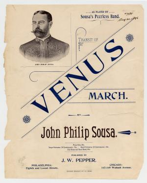 "Cover of sheet music for the Transit of Venus. ""Venus"" is bolded and is displayed diagonally. A sket"