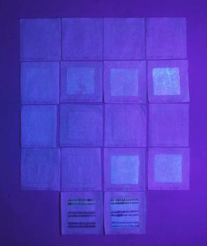 Examination of adhesives and sizing agents under UV light, 12/28/2015. Courtesy of  Laura Dellapiana