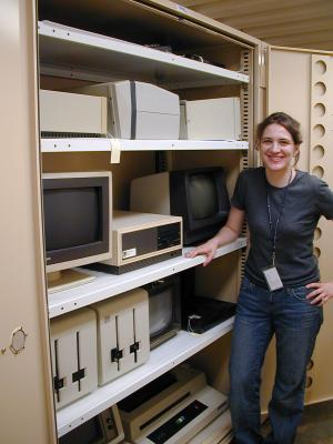 Volunteer Petrina Foti with the NMAH Computer Collections