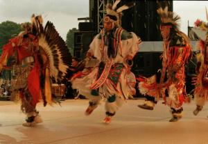 Native Americans perform ritual dances as part of the National Museum of the American Indian's parti