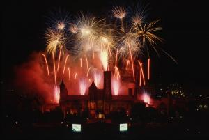 Fireworks over Castle, for the 150th Smithsonian Institution Birthday Celebration. August 10, 1996,