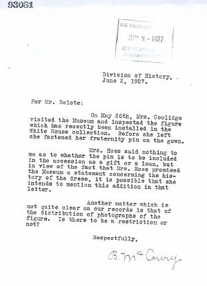 Letter verifying that Grace Coolidge visited the Division of History on May 26, 1927. Record Unit 19