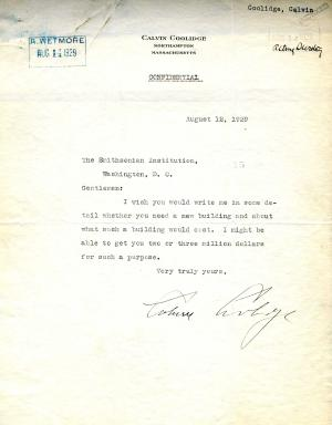 Letter from Calvin Coolidge detailing his interest in funding a new building for the Smithsonian, Re