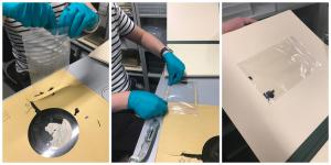Collage of three images showing disc fragments being placed in a plastic bag, tape being applied to