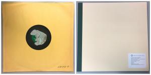 Side by side image of a disc in a paper sleeve and a square folder with a label.