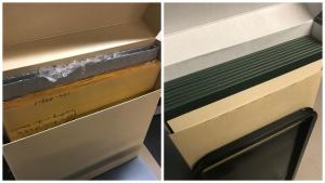 Side by side image of a box with paper sleeves and a box with book spines facing up.
