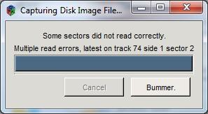 The disk has issues and the files cannot be retrieved. Courtesy of Smithsonian Institution Archives.