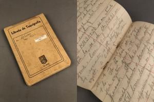 Side by side image with a closed notebook on the left and an open page on the right.