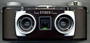 Black Kodak Stereo Camera with two lenses circle lenses.