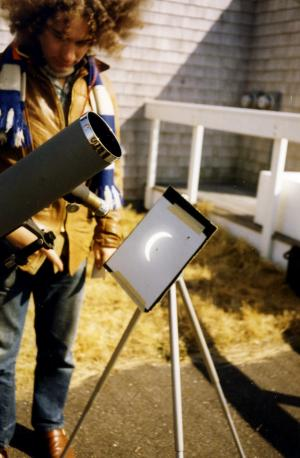 A safe way to view the partial phases with a small telescope in Nantucket, 1970.