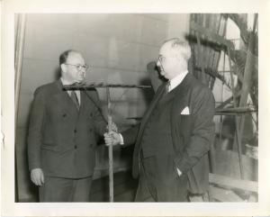 Science Service director Watson Davis with General Motors' Thomas Midgley Jr, 1936.