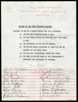 Food Commission Pledges, Charwomen in Natural History Building, July 1917, Record Unit 45 - Office o