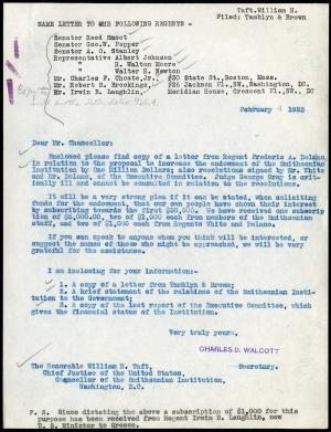February 4, 1925 Letter Charles Doolittle Walcott to William Howard Taft, Record Unit 45 - Office of
