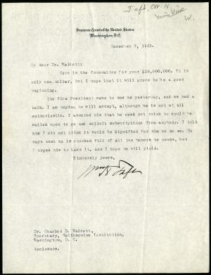 December 7, 1925 letter, William Howard Taft to Charles Doolittle Walcott, Record Unit 45 - Office o