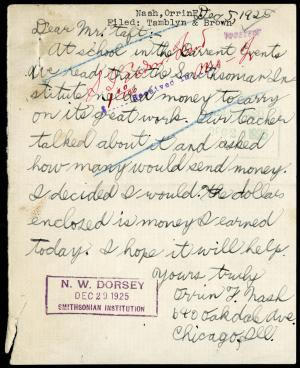 December 5, 1925 letter, Orrin Nash to William Howard Taft, Record Unit 45 - Office of the Secretary