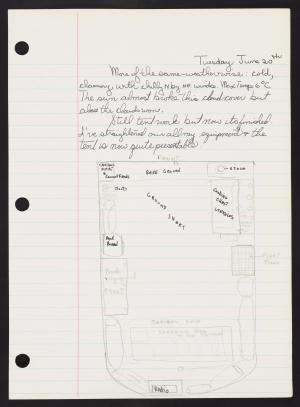 Lined paper with ink and pencil writing and sketch of room layout.