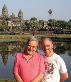 Dr. Leonard Hirsch (right) with his husband, the late Dr. Kristian Fauchald, in Cambodia in 2005.