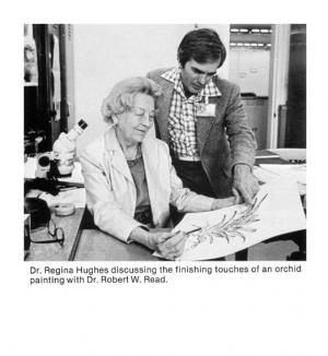 Regina Hughes and Robert Read looking over her sketch, Journal of the Bromeliad Society, Volume XXXI