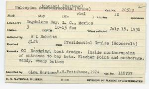 Specimen card from the Presidential Cruise of 1938.