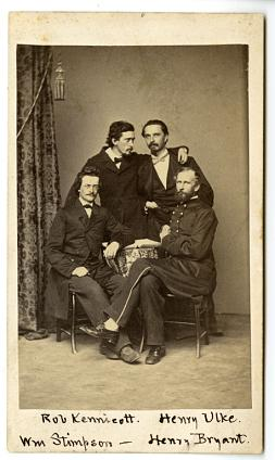 The Megatherium Club, Clockwise from upper left: Robert Kennicott, Henry Ulke, Henry Bryant and Will