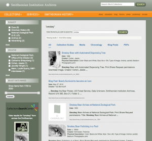 Standard search results from the Smithsonian Institution Archives site.